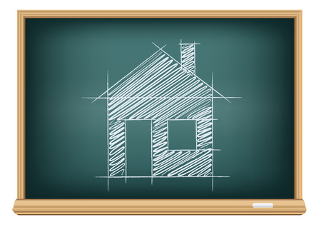 Studying build a house. Drawing house sketch with door window and chimney on education blackboard on a white background. Chalk drawing.