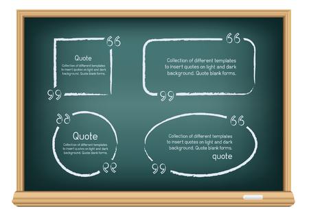 blackboard: Las plantillas para las cotizaciones de escritura. Redondas, cuadradas, ovaladas, rectangulares formas dibujadas con tiza en la pizarra la educación sobre un fondo blanco.