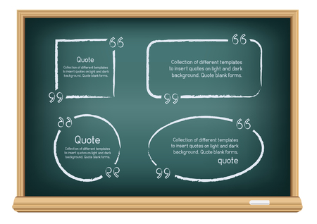quotes: Templates for writing quotes. Round, square, oval, rectangular forms drawn with chalk on education blackboard on a white background.
