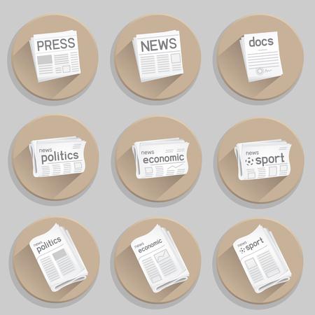 Newspaper icon set. Press collection on white background. News politics economic sport. Docs icon as a bonus