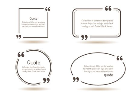 Templates for writing quote. Round square oval rectangular quotes forms on white background. Illustration