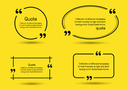 note board: Templates for writing quote. Round square oval rectangular quotes forms on yellow background. Illustration