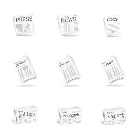Press icon set. Newspaper collection on white background. News politics economic sport. Docs icon as a bonus