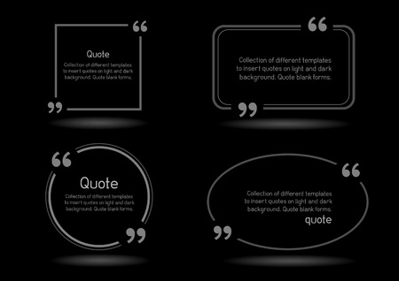 citing: Templates for writing quote. Round square oval rectangular quotes forms on black background. Illustration