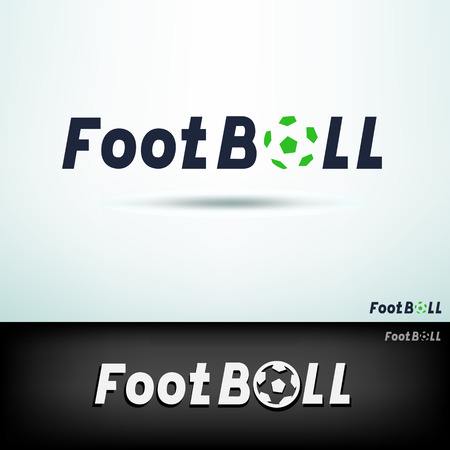Simple football logo. Design sport template text and soccer ball sign with shadow on white and black background