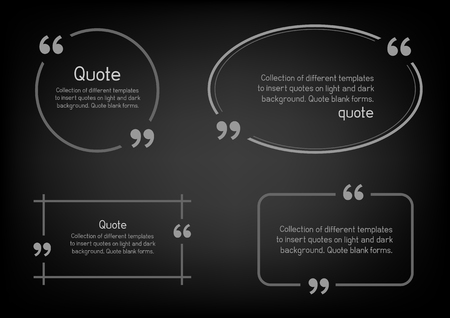 citing: Templates for writing quote. Round square oval rectangular quotes forms on dark background.