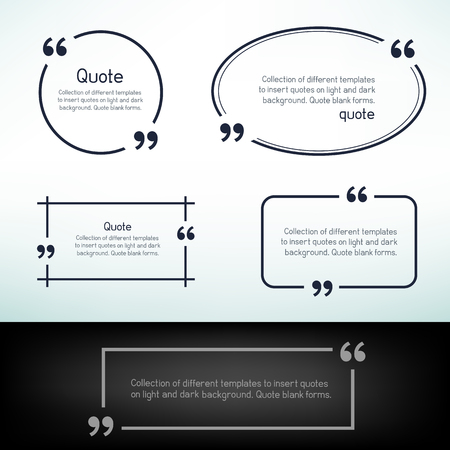 Simple quote templates. Round square oval rectangular quotes forms on light and dark background.