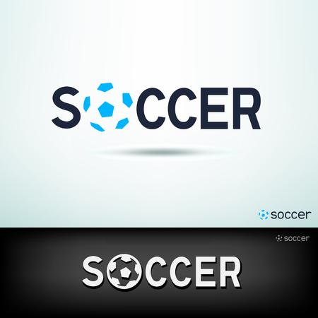 Eenvoudige voetbal logo. Ontwerp sport sjabloon tekst en voetbal bord met schaduw op witte en zwarte achtergrond