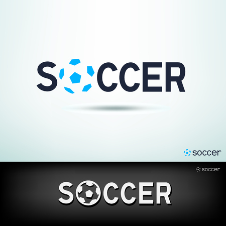 Simple soccer logo. Design sport template text and soccer ball sign with shadow on white and black background
