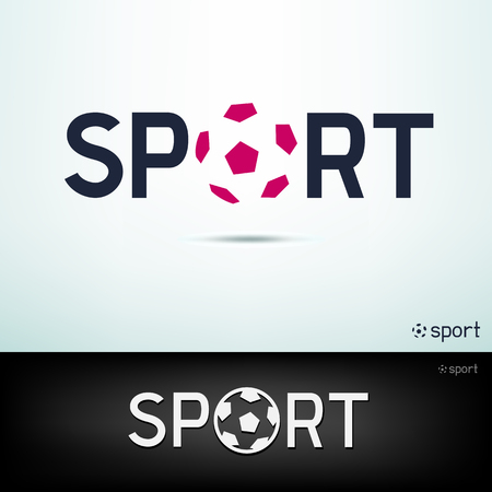 Simple sport logo. Design template text and ball sign with shadow on white and black background Illustration
