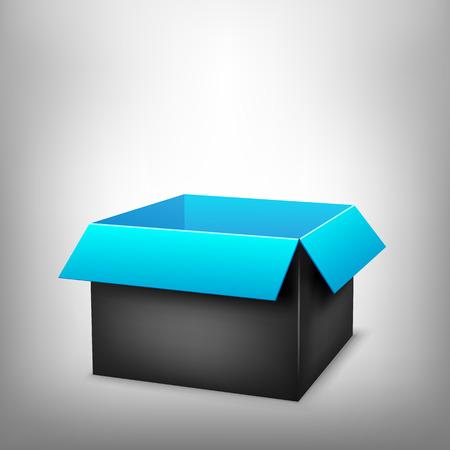 paperboard packaging: 3D black outside blue inside open paper package on light white mesh background