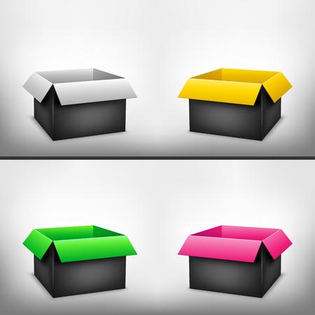 3D black outside multicolored inside open paper packages on light white mesh background Illustration
