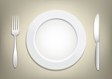 silver ware: Empty plate, knife and fork on a light brown mesh background. Tableware set. Dishes for a meal. Empty template to put your food on the plate. Illustration