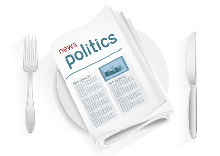 Political newspaper on a plate on a white background. News of the government. Fork and knife to eat politics news. Political kitchen. Cooking political news. Bon appetit
