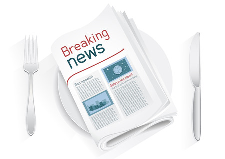 Breaking newspaper on a plate on a white background. News of the politics government economic business sport entertainment. Fork and knife to eat news. News kitchen. Cooking breaking news. Article of gold on the moon. Bon appetit Illustration