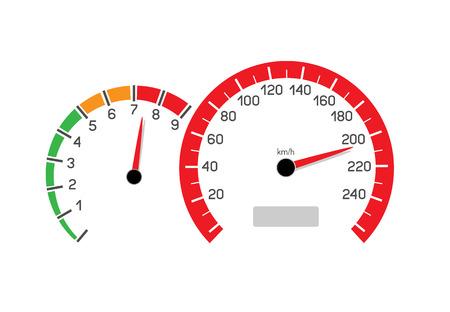 흰색 배경에 고립 된 제한 속도 그림 과속 차량. 속도계 및 회전 수 카운터는 속도 제한을 보여줍니다.