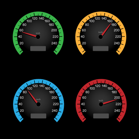 kph: Set of car speeding limit panels isolated on black background. Speedmeter shows the speed limit