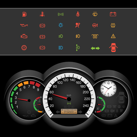 kph: Car control panel night interface on black background. Car dashboard icons set. Collection car panel symbol. Speedmeter and rev counter shows the speed