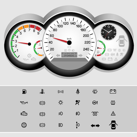 Car control panel interface on light background. Car dashboard icons set. Collection car panel symbol. Speedmeter and rev counter shows the speed