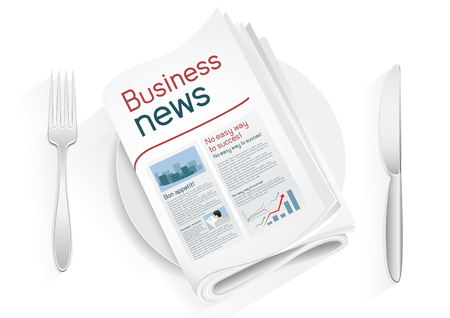 Business newspaper on a plate on a white background. News of the politics government economic business sport entertainment. Fork and knife to eat news. News kitchen. Cooking breaking news