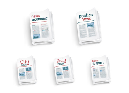 Collection  of newspapers on white background. News of the politics government economic business sport entertainment