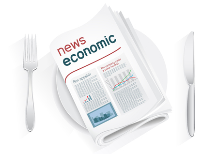Economic newspaper on a plate on a white background. News of the politics government economic business. Fork and knife to eat news. News kitchen. Cooking breaking news.