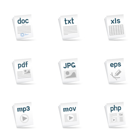 File extension icons set with shadow om the white background