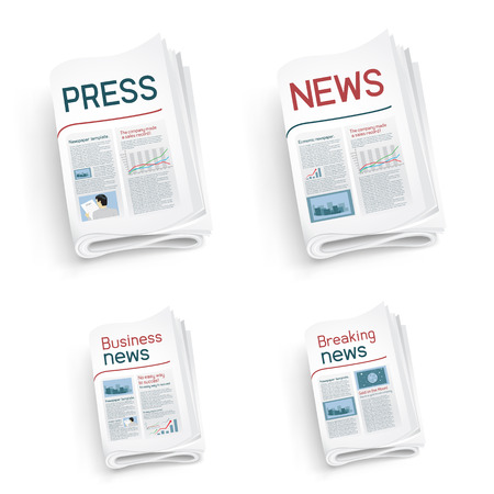 Set of newspapers on white background. News of the politics government economic business sport entertainment