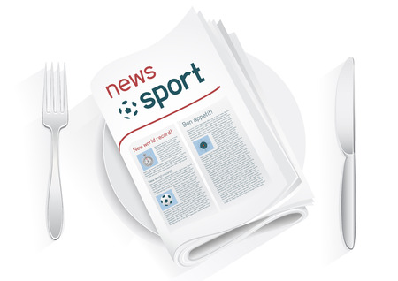Sport newspaper on a plate on a white background. News of the sport entertainment. Fork and knife to eat news. News kitchen. Cooking breaking sport news. Illustration