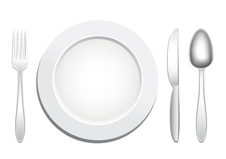 silver ware: Empty plate, knife, spoon and fork on a white background. Tableware set. Dishes for a meal. Empty template to put your food on the plate.