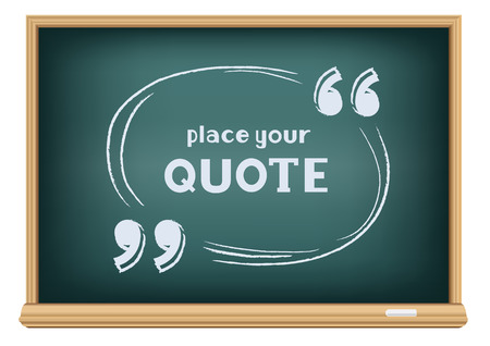 Templates for writing quotes. Round, oval forms handwritten with chalk on education blackboard on a white background. Illustration