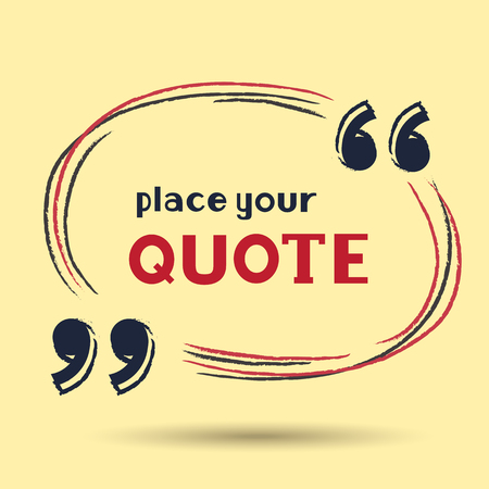 citing: Handwritten template for writing quote. Oval quote form on light yellow background.