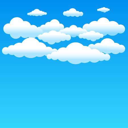 weather cartoon: Cartoon cloudy background on blue sky. Simple gradient clouds and place for text on sky background