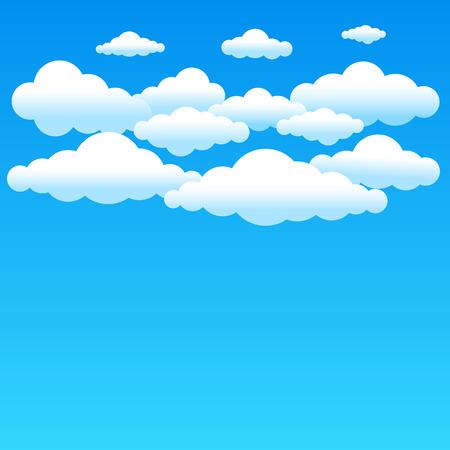 meteo: Cartoon sfondo nuvoloso sul cielo blu. nuvole gradiente semplici e posto per testo sullo sfondo del cielo