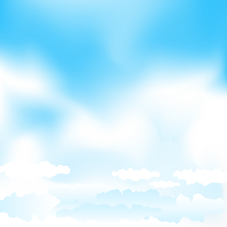 cloudy: Cartoon cloudy background on blue mesh sky. Simple gradient clouds and place for text on sky background