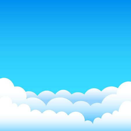 Cartoon cloudy background on blue sky. Gradient clouds and space for text on top of the background of the sky Illustration