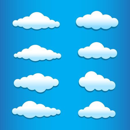 Cartoon clouds set collection on the blue background