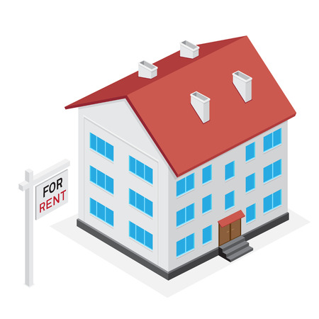 multistory: Simple multistory house icon. Home for rent or sale on white background. Illustration