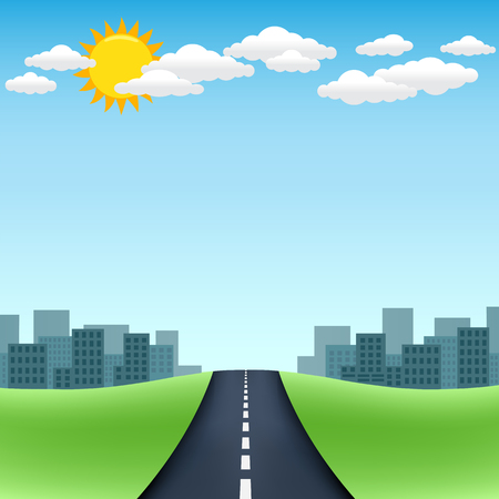 city road: The road trip with city on the horizon and blue sky with sun and clouds on background Illustration
