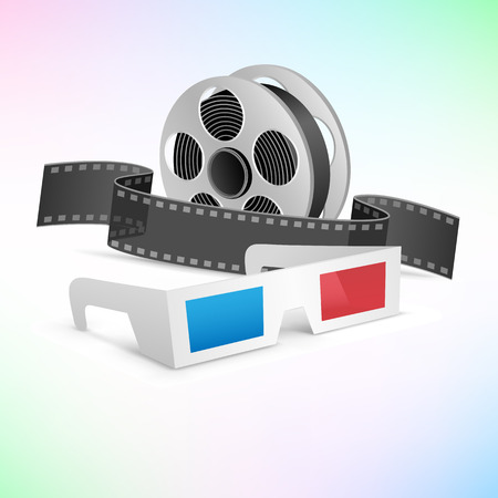 The movie cinema set. 3d glasses, clapper and film cartridge on tne colored background Illustration