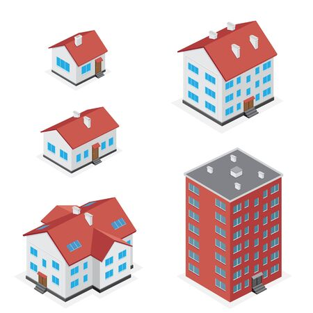 multi storey: The simple different houses icon set isolated on white background