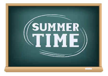 The text summer time on school blackboard on white background