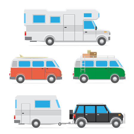 The collection of camp cars isolated on white background