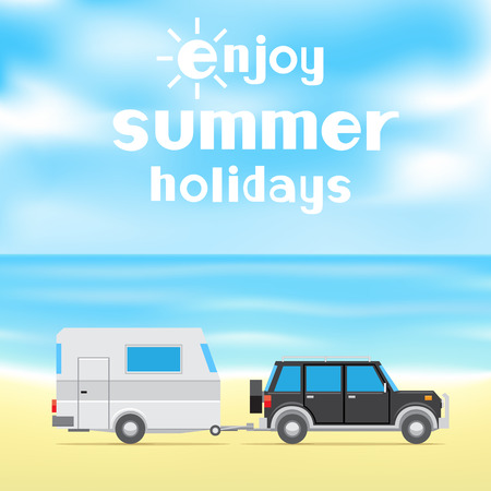 The text enjoy summer holidays on blue sky and sea background. Black car and white trailer on the beach Illustration