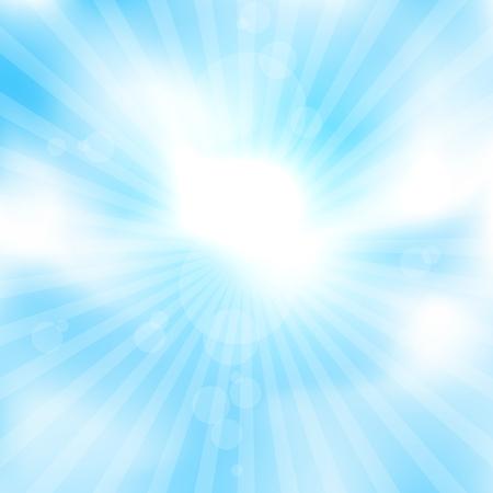 The simlpe mesh blue sky and sun rays around