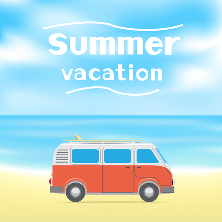 The text summer vacation on blue sky and sea background Car with a surfboard on the beach