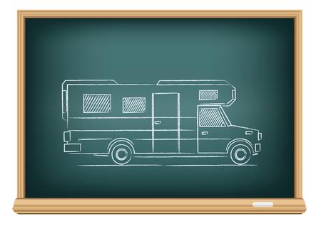 The trailer drawn on school blackboard on white background
