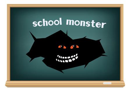 monstre de l'école dans le trou de la fissure sur le tableau noir isolé sur fond blanc Vecteurs
