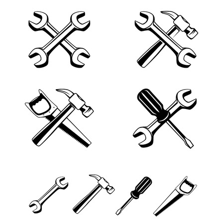 repairer: Collection of different silhouette tools to combine setting icon. Repairer set, wrench screwdriver saw hammer