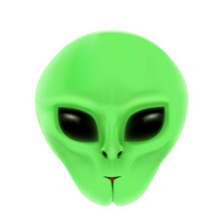 green face: The alien with green face and black eyes isolated on white background